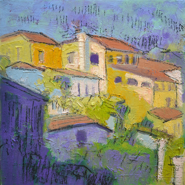 Village on the Hill | Mixed Media Painting by Dorothy Fagan