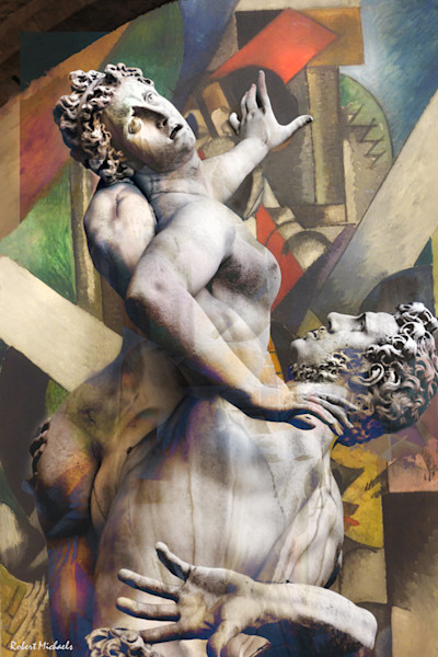 "A reinterpretation in this abstract photo-illustration by Robert Michaels of Giambologna dei Lanzi's ""Rape of the Sabine Women."""