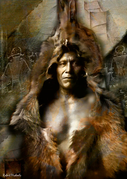 A beautiful historical image of a Native American, enhanced with modern digital tools by photographer and artist Robert Michaels, is a powerful figurative rendition.