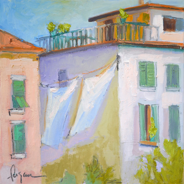 Village Balcony | Rooftop Garden Painting by Dorothy Fagan