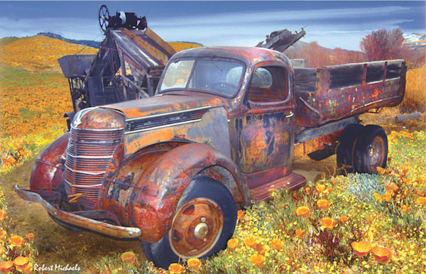 An old vintage truck, rusted through and through, sits in a vast field of yellow poppies in this Digital Photographic Painting by Robert Michaels.