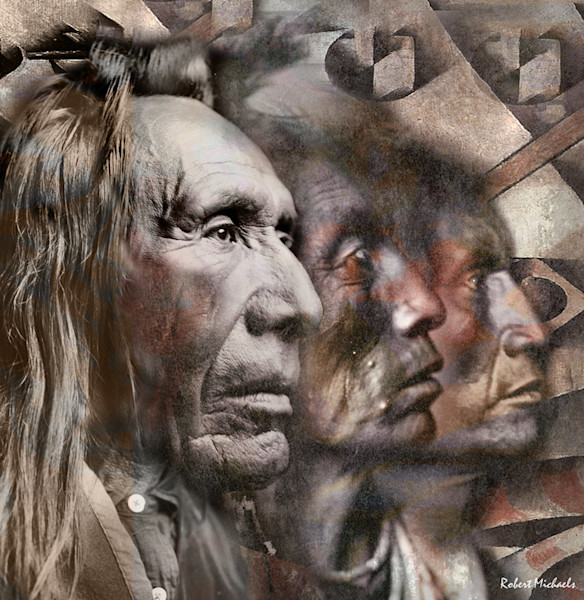 Three Native American men are brought together by Robert Michaels from three separate portraits by photographer Edward S. Curtis in this Digital Photographic Painting.
