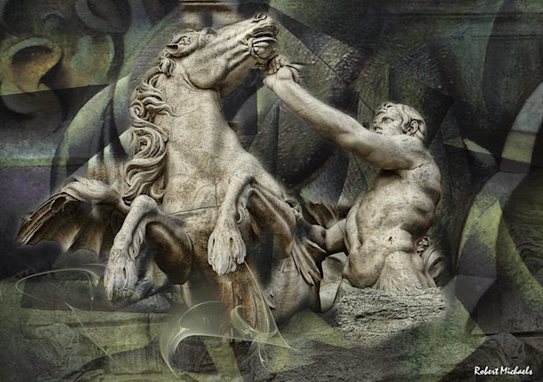 The classic struggle between man and wild beast is highlighted in this powerful image by Robert Michaels of the Trevi Fountain in Rome.