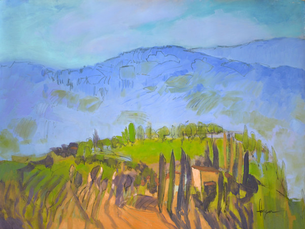 Dreamy Day in Tuscany | Original Mixed Media Painting by Dorothy Fagan