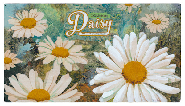 Daisy #1 Collage Painting by Jenny Goring White Background
