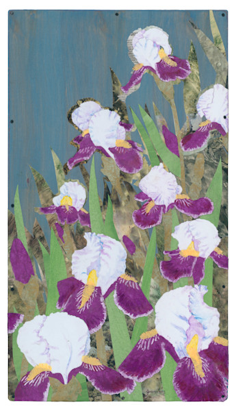 Iris #1 Collage Painting by Jenny Goring White Background