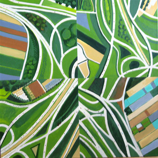 A fantastic overhead view of four different highway interchanges is filled with pattern and color in this original painting by Toni Silber-Delerive.