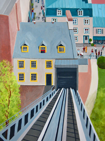 This image is of the funicular in Quebec City that transports people from the upper to the lower city in this original painting by Toni Silber-Delerive.