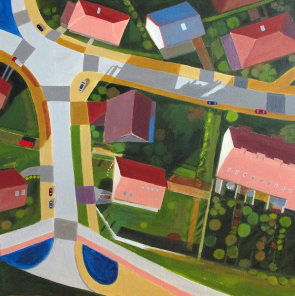 Colorful rooftops and flat areas of green, along with roadways reduced to graphic lines, this bird's eye view of a neighborhood in Poland looks like it could exist anywhere in this original painting by Toni Silber-Delerive.