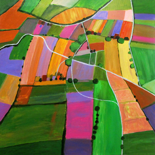 A bird's eye view of cultivated farmland is abstracted through the use of a bright color palette and geometric shapes in this original painting by Toni Silber-Delerive.
