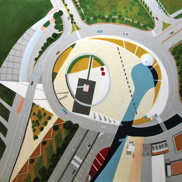 A sweeping view from the height of the Macau Tower in China is represented in this original painting by artist Toni Silber-Delerive.