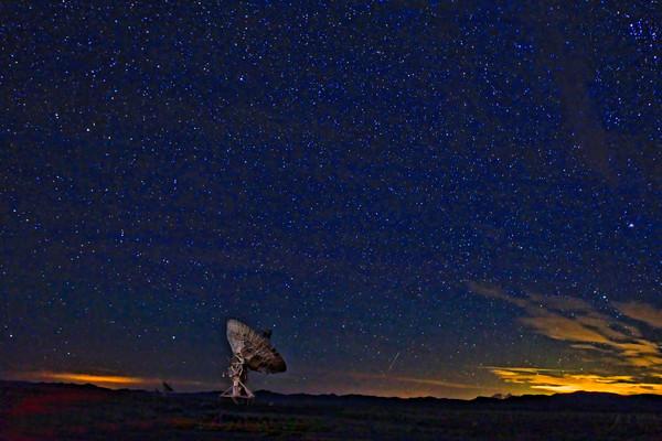 Night Satellite at the VLA