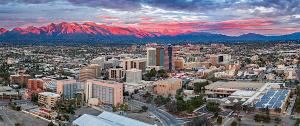 Downtown Tucson Red Sunset (snow)