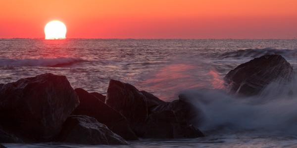 Beach Wall Art: Sea Wall Sunrise 2