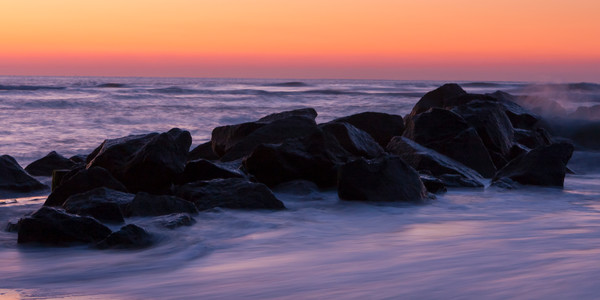 Beach Wall Art: Seawall at Dawn
