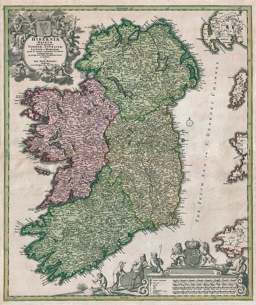 Homann 1716 Map of Ireland