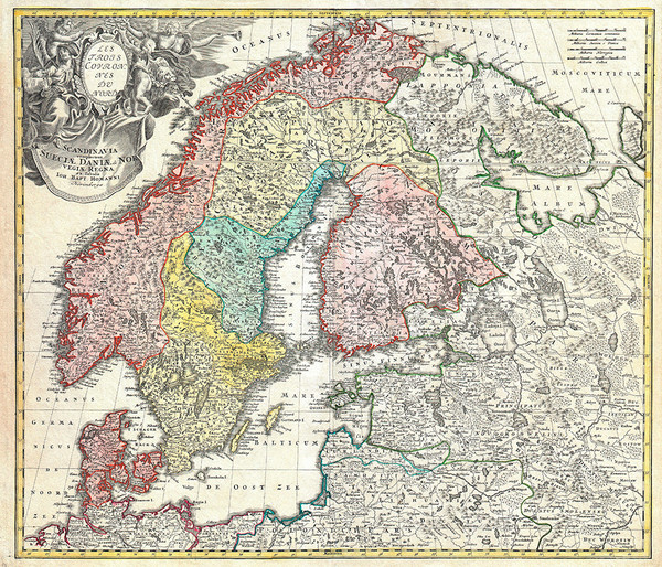 Homanni 1730 Map of Scandinavia, Norway, Sweden, Denmark, Finland and the Baltics