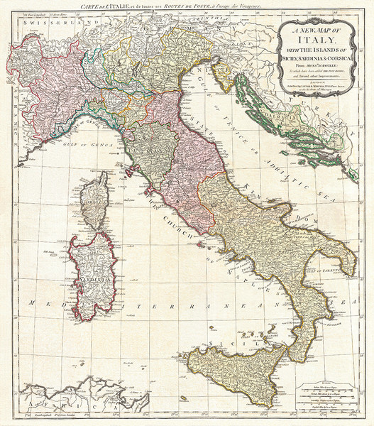 D'Anville 1794 Map of Italy