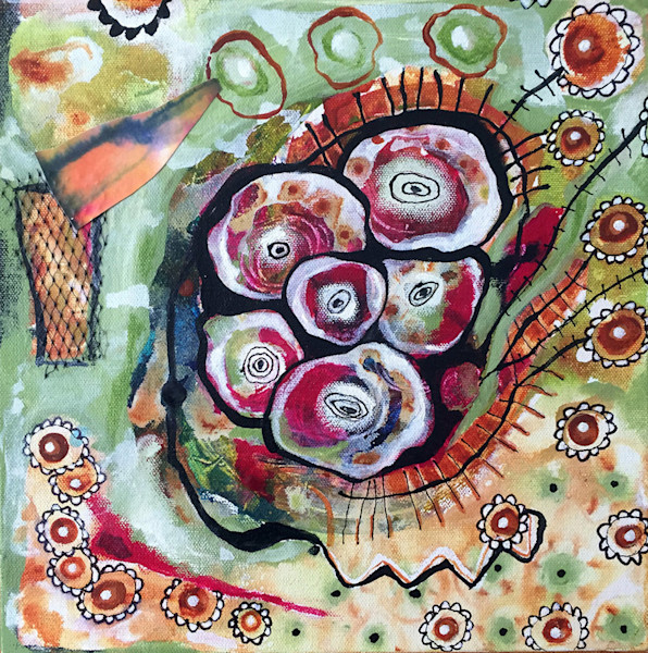 This abstracted floral mixed media painting by artist Joyce Wynes will warm your heart.