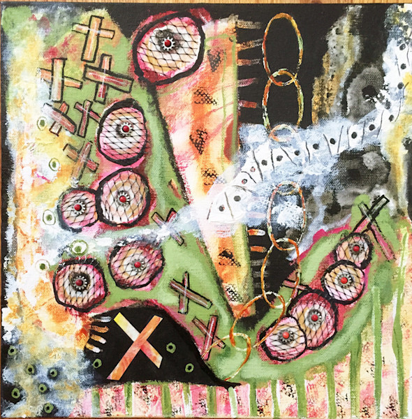 Abstract and colorful, this original acrylic and mixed media painting is by artist Joyce Wynes.