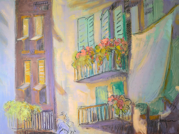 The Perch | Balcony Garden Painting by Dorothy Fagan