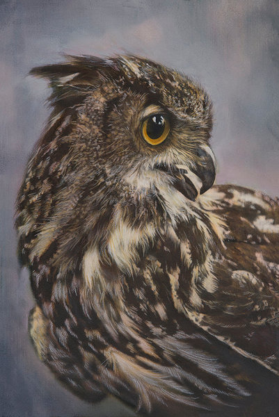 This stunning nature photograph by artist Ryn Clarke captures the Great Horned Owl in all its majestic beauty.