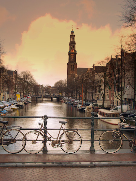 View of Waterway in Amsterdam in Sepia