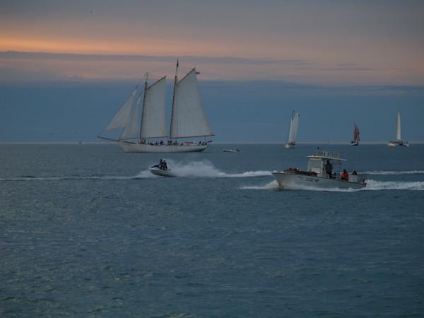 Sailboats and Jet Sky at Sunset--Key West, Florida
