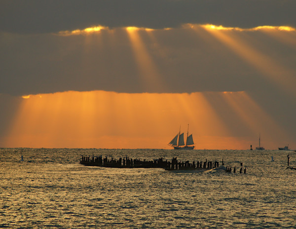 Sailboat on the Atlantic Ocean at Sunset off the Coast of Key West, Florida