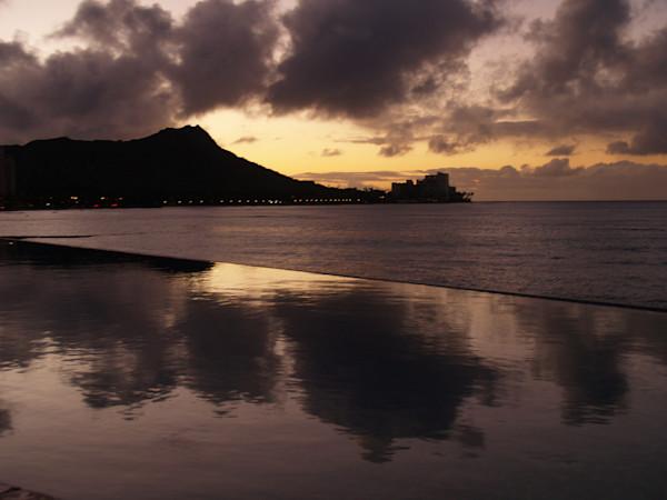 Sunset Reflections Off the Pool--Kauai, Hawaii
