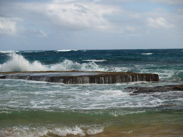 Ocean Waves Splash Against Rock--Kauai,Hawaii