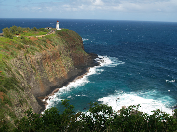 Lighthouse on Peninsula Along Kauai Coastline