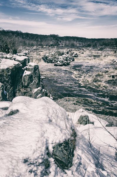 Great Falls Vintage Black and White Landscape Photo Wall Art by Landscape Photographer Melissa Fague