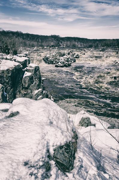 Great Falls Vintage Black and White Landscape Photo Wall Art by Landscape Photographer Melissa Fague
