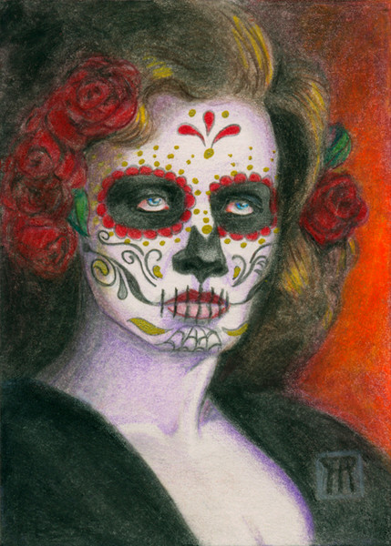 Day of the Dead Face with Roses