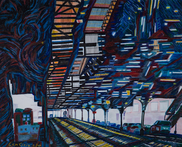 The Northern Manhattan Architecture Train Station Art and Painting