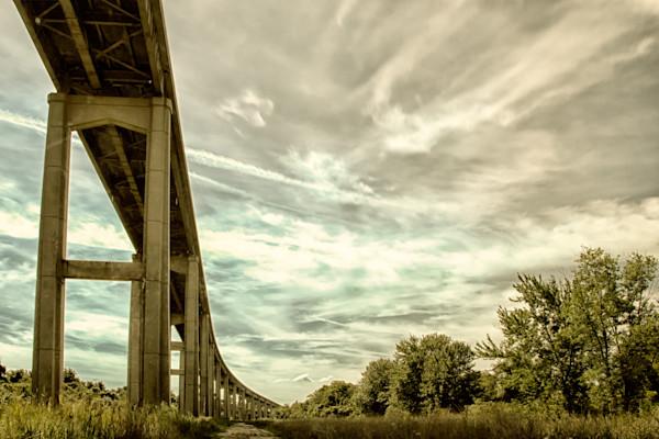 Reedy Point Bridge against Sky Landscape Photo Wall Art by Landscape Photographer Melissa Fague