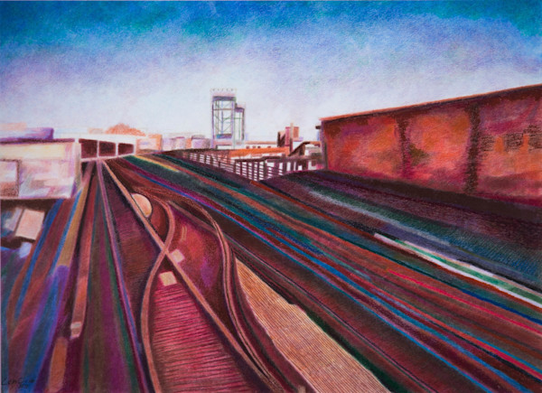 Subway Art of Tracks to Riverdale Painting In Upper Manhattan