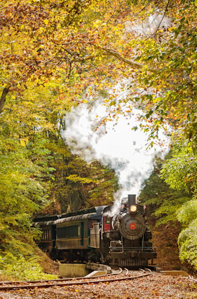 Steam Train with Autumn Foliage Landscape Photo Wall Art by Landscape Photographer Melissa Fague