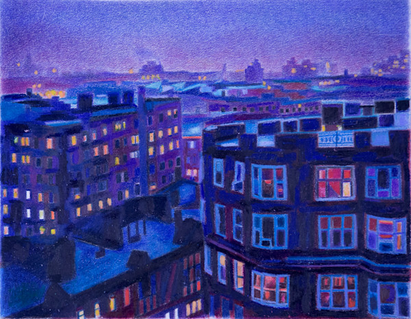 Manhattan Art of Washington Heights In Early Evening Architecture Painting