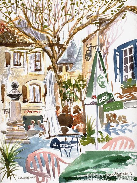 Carcassone Cafe | Watercolor Landscapes | Gordon Meggison IV