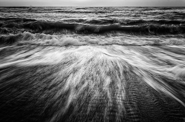 Washing Out to Sea in Black and White Nature Photo Wall Art by Nature Photographer Melissa Fague