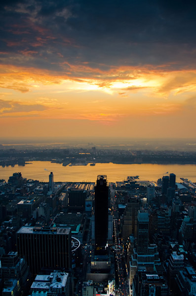 Sunset over NYC Night Photo Wall Art by Nature photographer Melissa Fague