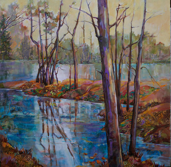 This image of trees reflected in a still pond is filled with peace and serenity, color, light and reflection in this original acrylic and mixed media painting by Marty Husted.