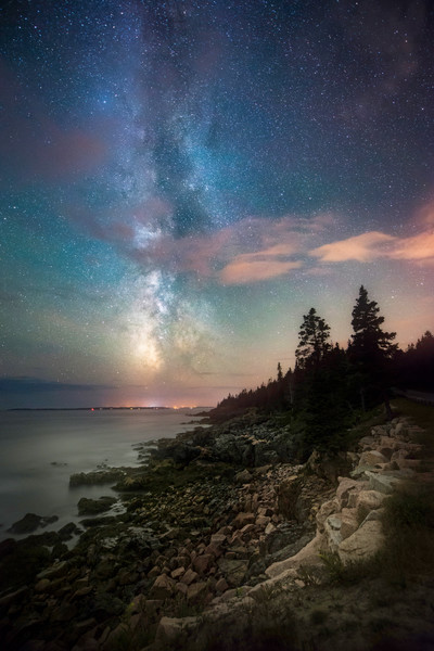Western Point, the Milky Way Galaxy over Western Point in Acadia National Park
