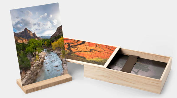 Elegant & Personal 5x7 Wood Box Set of CENTRl OREGON Fine Art Metal Photographs for Sale