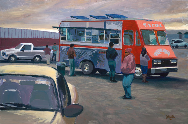 Latino, art, taco truck, painting, landscape