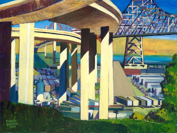 Crockett, bridge, landscape, painting, art