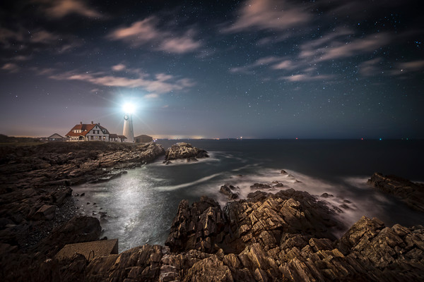 Portland Head Light at Night, Maine Lighthouse and Rocky Shore seen at Night