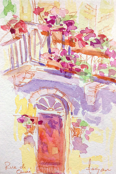 French Door with Flowers | Watercolor by Dorothy Fagan
